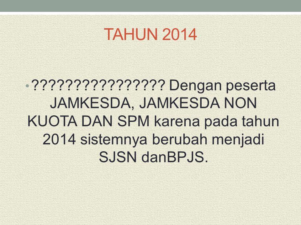 TAHUN 2014 ???????????????? Dengan peserta JAMKESDA, JAMKESDA NON KUOTA DAN SPM karena pada tahun 2014 sistemnya berubah menjadi SJSN danBPJS.