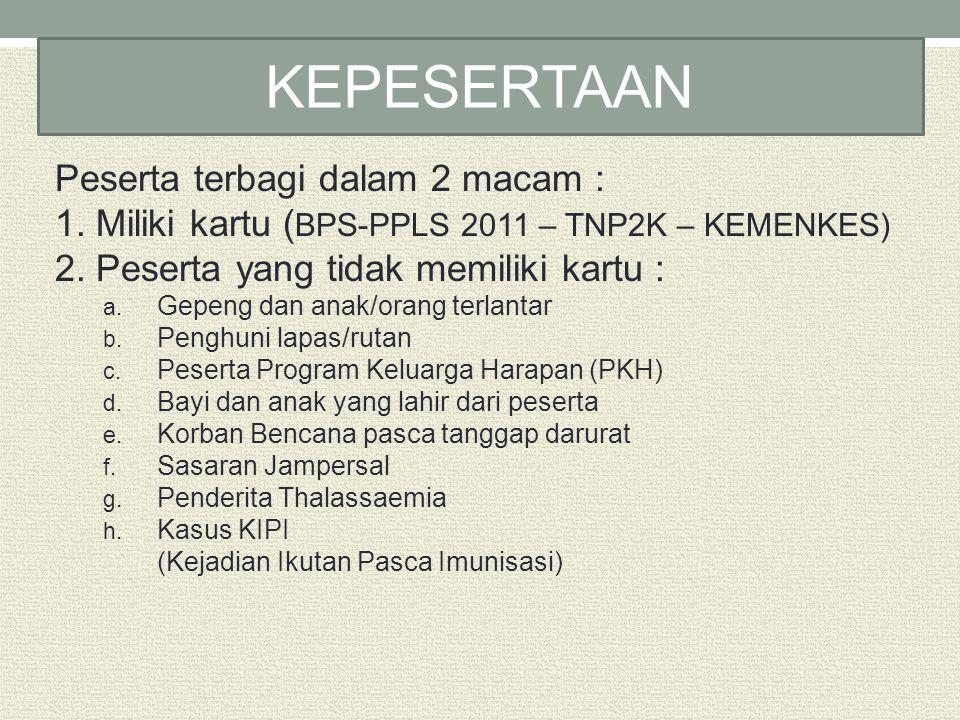 Peserta terbagi dalam 2 macam : 1. Miliki kartu ( BPS-PPLS 2011 – TNP2K – KEMENKES) 2. Peserta yang tidak memiliki kartu : a. Gepeng dan anak/orang te