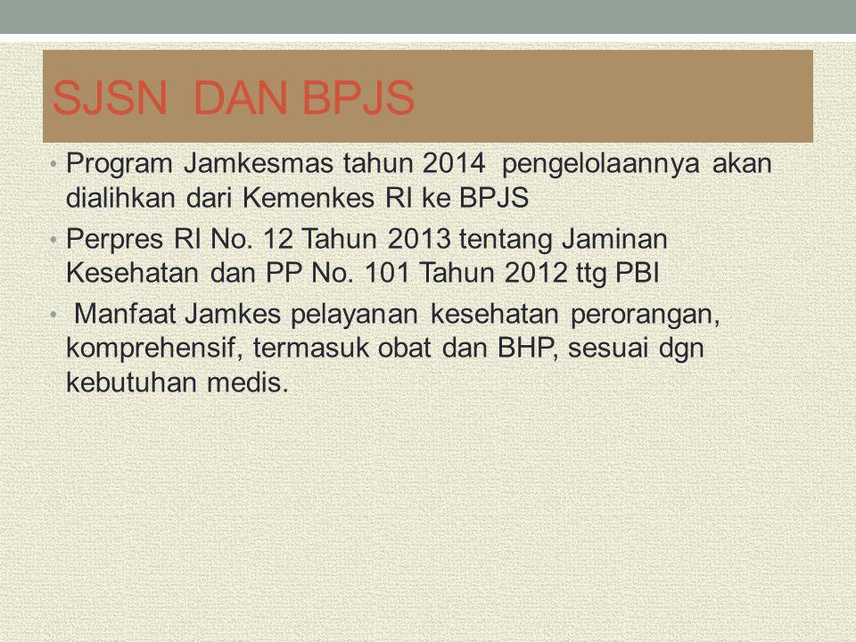 SJSN DAN BPJS Program Jamkesmas tahun 2014 pengelolaannya akan dialihkan dari Kemenkes RI ke BPJS Perpres RI No. 12 Tahun 2013 tentang Jaminan Kesehat