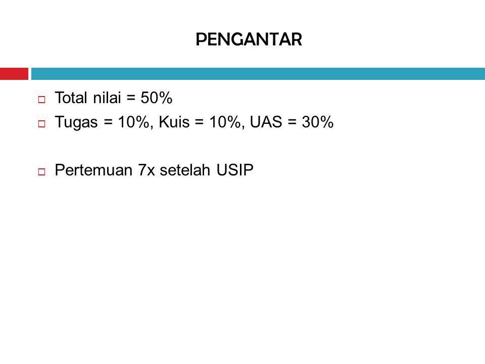 PENGANTAR  Total nilai = 50%  Tugas = 10%, Kuis = 10%, UAS = 30%  Pertemuan 7x setelah USIP