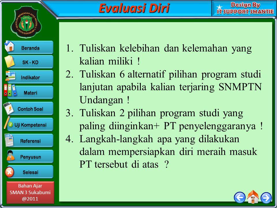 Bahan Ajar SMAN 3 Sukabumi @2011 Bahan Ajar SMAN 3 Sukabumi @2011 1.Tuliskan kelebihan dan kelemahan yang kalian miliki .
