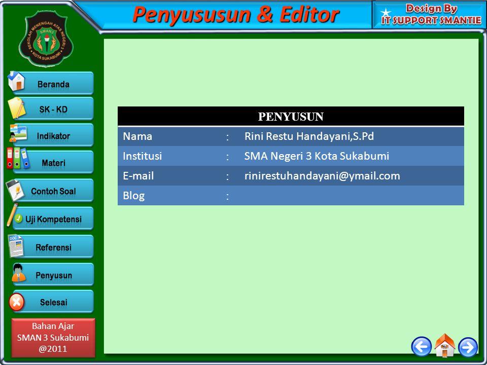 Bahan Ajar SMAN 3 Sukabumi @2011 Bahan Ajar SMAN 3 Sukabumi @2011 Penyususun & Editor PENYUSUN Nama : Rini Restu Handayani,S.Pd Institusi : SMA Negeri 3 Kota Sukabumi E-mail : rinirestuhandayani@ymail.com Blog :