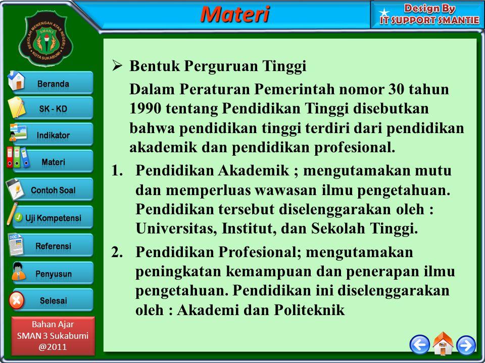 Bahan Ajar SMAN 3 Sukabumi @2011 Bahan Ajar SMAN 3 Sukabumi @2011 Jenjang dan Gelar PT 1.