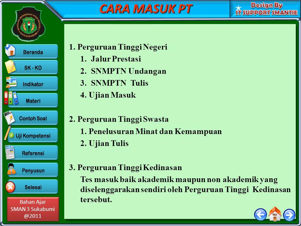 Bahan Ajar SMAN 3 Sukabumi @2011 Bahan Ajar SMAN 3 Sukabumi @2011 CARA MASUK PT 1.
