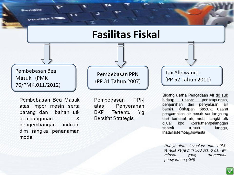 Fasilitas Fiskal Pembebasan Bea Masuk (PMK 76/PMK.011/2012) Pembebasan PPN (PP 31 Tahun 2007) Tax Allowance (PP 52 Tahun 2011) Pembebasan Bea Masuk at