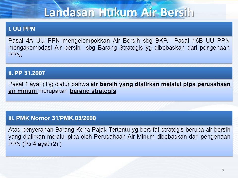 Landasan Hukum Air Bersih Pasal 4A UU PPN mengelompokkan Air Bersih sbg BKP. Pasal 16B UU PPN mengakomodasi Air bersih sbg Barang Strategis yg dibebas
