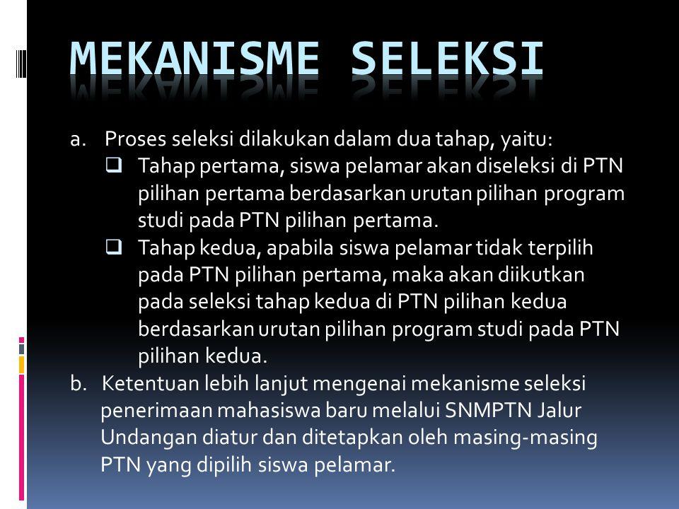 a. Proses seleksi dilakukan dalam dua tahap, yaitu:  Tahap pertama, siswa pelamar akan diseleksi di PTN pilihan pertama berdasarkan urutan pilihan pr