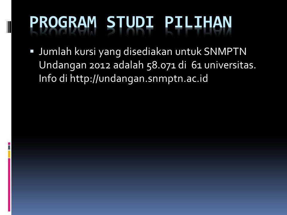  Jumlah kursi yang disediakan untuk SNMPTN Undangan 2012 adalah 58.071 di 61 universitas. Info di http://undangan.snmptn.ac.id