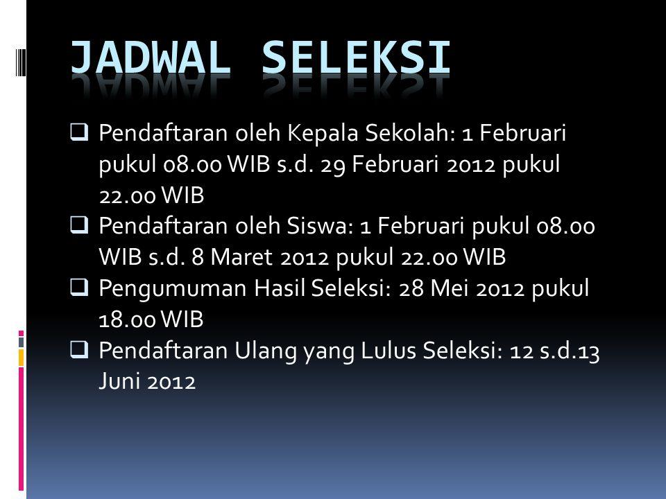  Pendaftaran oleh Kepala Sekolah: 1 Februari pukul 08.00 WIB s.d. 29 Februari 2012 pukul 22.00 WIB  Pendaftaran oleh Siswa: 1 Februari pukul 08.00 W