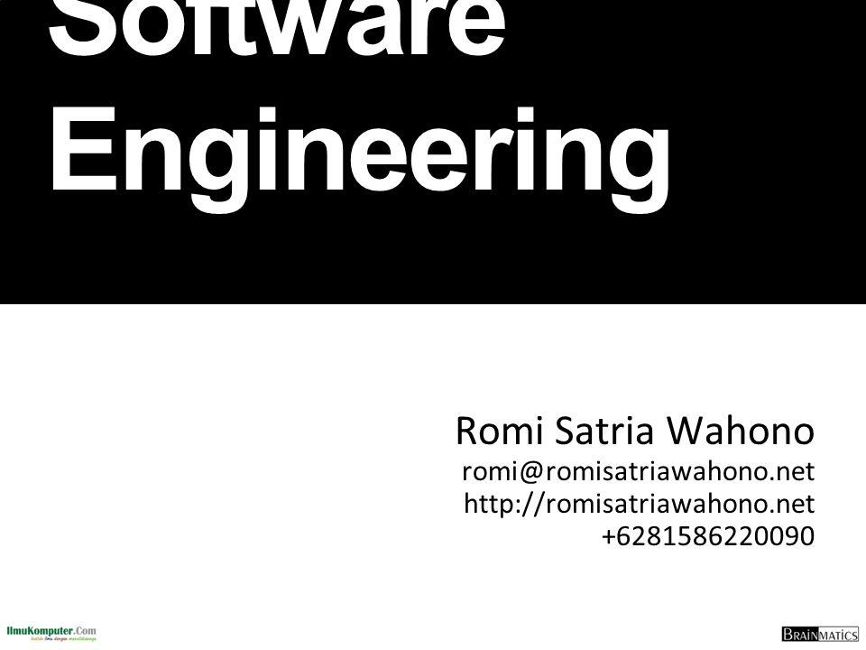  SD Sompok Semarang (1987)  SMPN 8 Semarang (1990)  SMA Taruna Nusantara, Magelang (1993)  B.Eng, M.Eng and Ph.D in Software Engineering from Saitama University Japan (1994-2004) Universiti Teknikal Malaysia Melaka (2014)  Research Interests: Software Engineering, Intelligent Systems  Founder dan Koordinator IlmuKomputer.Com  Peneliti LIPI (2004-2007)  Founder dan CEO PT Brainmatics Cipta Informatika Romi Satria Wahono