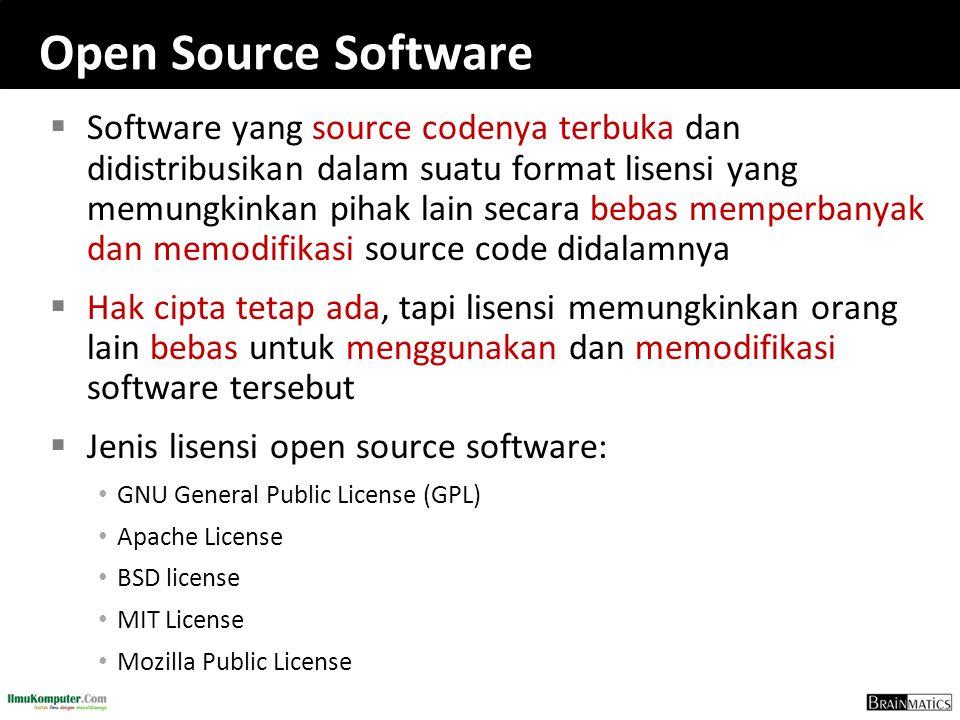 Open Source Software  Software yang source codenya terbuka dan didistribusikan dalam suatu format lisensi yang memungkinkan pihak lain secara bebas memperbanyak dan memodifikasi source code didalamnya  Hak cipta tetap ada, tapi lisensi memungkinkan orang lain bebas untuk menggunakan dan memodifikasi software tersebut  Jenis lisensi open source software: GNU General Public License (GPL) Apache License BSD license MIT License Mozilla Public License