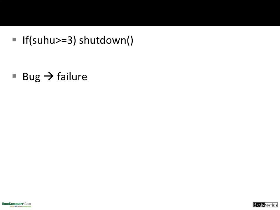  If(suhu>=3) shutdown()  Bug  failure