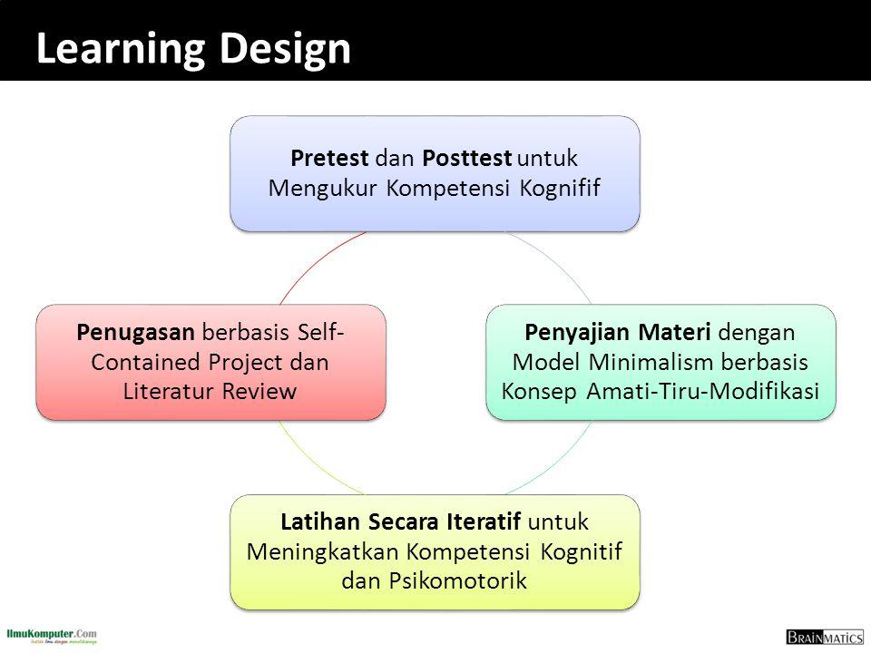 Learning Design Pretest dan Posttest untuk Mengukur Kompetensi Kognifif Penyajian Materi dengan Model Minimalism berbasis Konsep Amati-Tiru-Modifikasi Latihan Secara Iteratif untuk Meningkatkan Kompetensi Kognitif dan Psikomotorik Penugasan berbasis Self- Contained Project dan Literatur Review