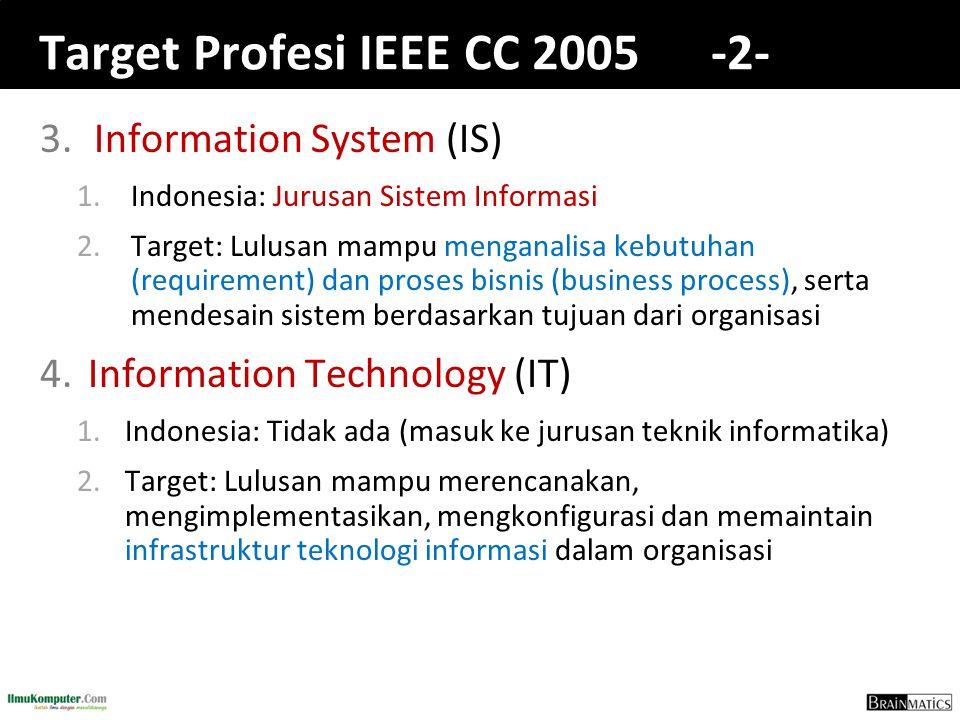 Target Profesi IEEE CC 2005 -2- 3.Information System (IS) 1.Indonesia: Jurusan Sistem Informasi 2.Target: Lulusan mampu menganalisa kebutuhan (requirement) dan proses bisnis (business process), serta mendesain sistem berdasarkan tujuan dari organisasi 4.Information Technology (IT) 1.Indonesia: Tidak ada (masuk ke jurusan teknik informatika) 2.Target: Lulusan mampu merencanakan, mengimplementasikan, mengkonfigurasi dan memaintain infrastruktur teknologi informasi dalam organisasi