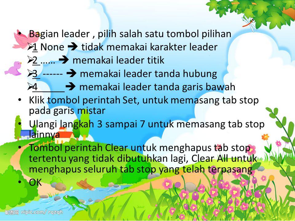 Bagian leader, pilih salah satu tombol pilihan  1 None  tidak memakai karakter leader  2 ……  memakai leader titik  3 ------  memakai leader tand