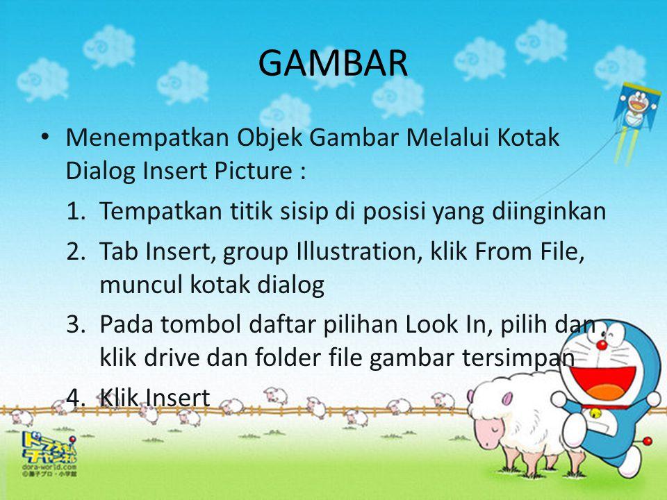 GAMBAR Menempatkan Objek Gambar Melalui Kotak Dialog Insert Picture : 1. Tempatkan titik sisip di posisi yang diinginkan 2.Tab Insert, group Illustrat