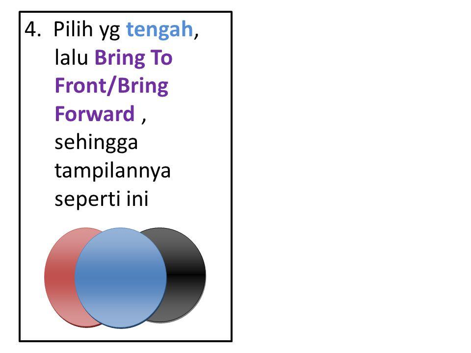 4. Pilih yg tengah, lalu Bring To Front/Bring Forward, sehingga tampilannya seperti ini