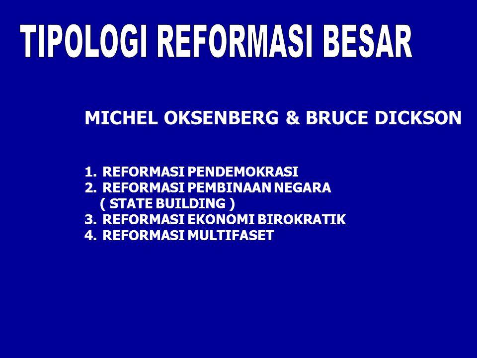 MICHEL OKSENBERG & BRUCE DICKSON 1.REFORMASI PENDEMOKRASI 2.REFORMASI PEMBINAAN NEGARA ( STATE BUILDING ) 3.REFORMASI EKONOMI BIROKRATIK 4.REFORMASI M