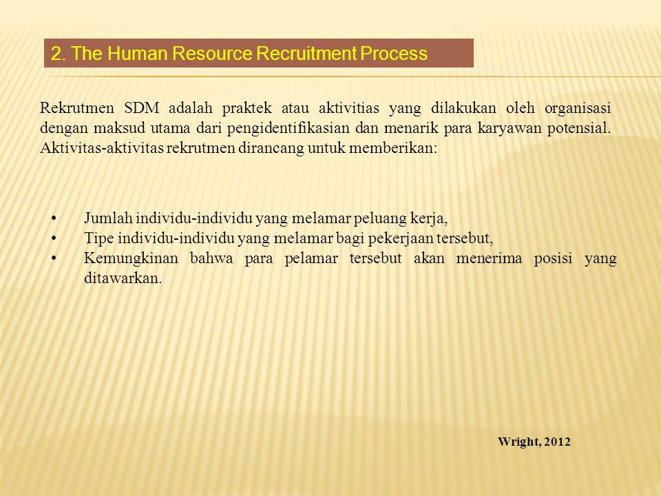 Rekrutmen SDM adalah praktek atau aktivitias yang dilakukan oleh organisasi dengan maksud utama dari pengidentifikasian dan menarik para karyawan pote