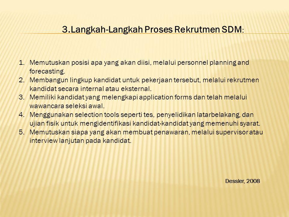 3.Langkah-Langkah Proses Rekrutmen SDM : 1.Memutuskan posisi apa yang akan diisi, melalui personnel planning and forecasting. 2.Membangun lingkup kand