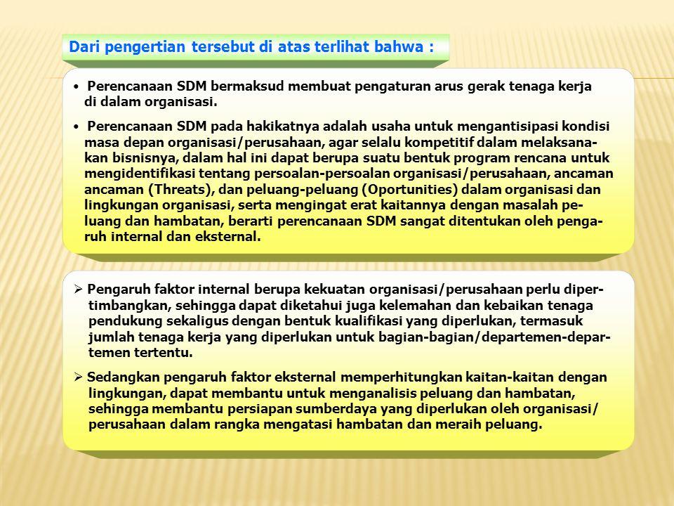 Dari pengertian tersebut di atas terlihat bahwa : Perencanaan SDM bermaksud membuat pengaturan arus gerak tenaga kerja di dalam organisasi. Perencanaa