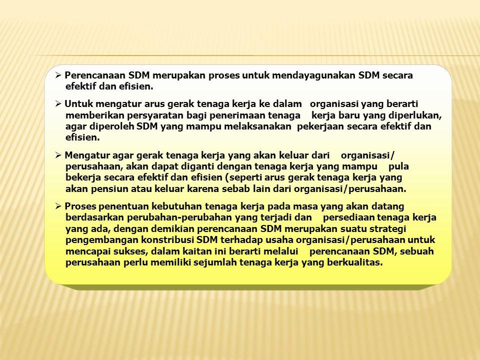  Perencanaan SDM merupakan proses untuk mendayagunakan SDM secara efektif dan efisien.  Untuk mengatur arus gerak tenaga kerja ke dalam organisasi y