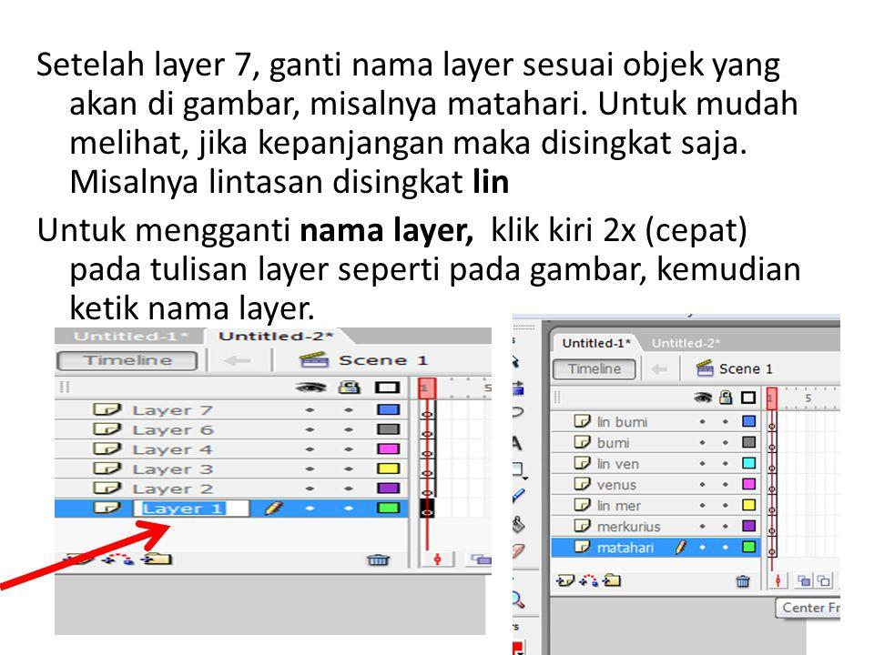 Setelah layer 7, ganti nama layer sesuai objek yang akan di gambar, misalnya matahari. Untuk mudah melihat, jika kepanjangan maka disingkat saja. Misa
