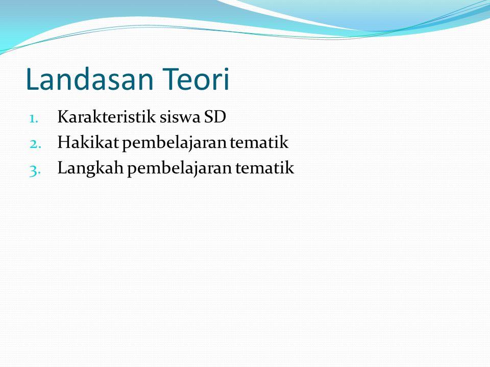 Landasan Teori 1. Karakteristik siswa SD 2. Hakikat pembelajaran tematik 3. Langkah pembelajaran tematik