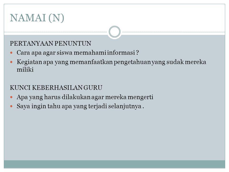 NAMAI (N) PERTANYAAN PENUNTUN Cara apa agar siswa memahami informasi .
