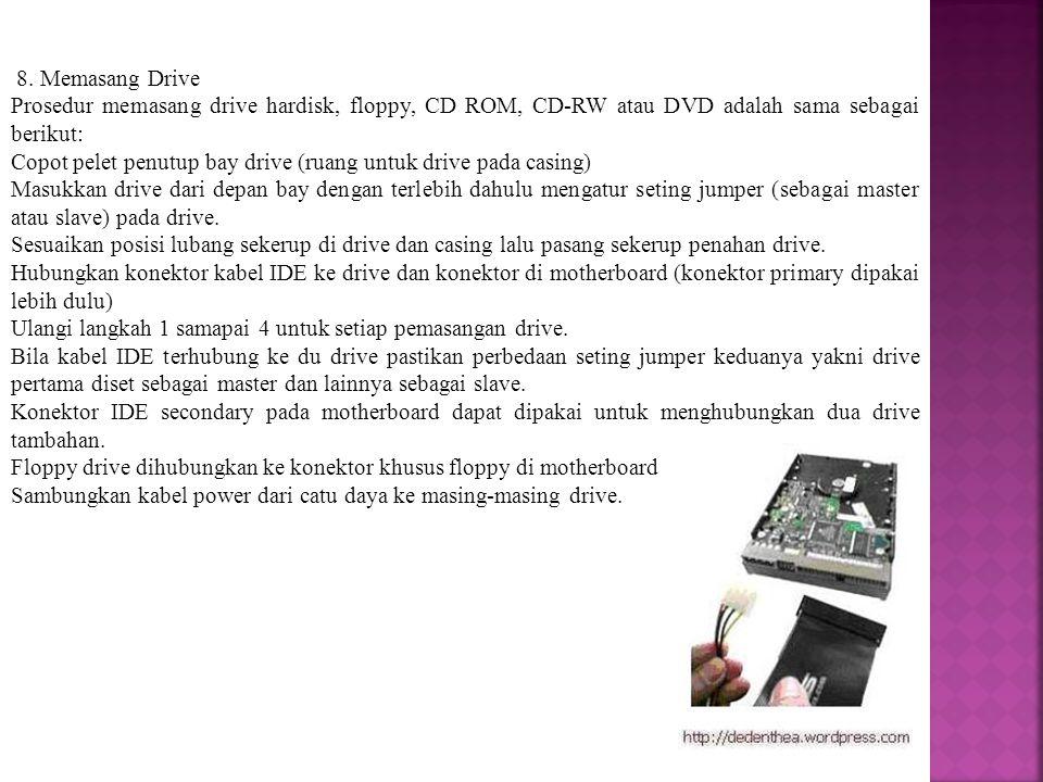 8. Memasang Drive Prosedur memasang drive hardisk, floppy, CD ROM, CD-RW atau DVD adalah sama sebagai berikut: Copot pelet penutup bay drive (ruang un