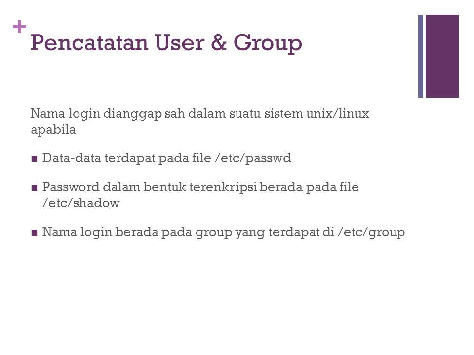 + Pencatatan User & Group Nama login dianggap sah dalam suatu sistem unix/linux apabila Data-data terdapat pada file /etc/passwd Password dalam bentuk terenkripsi berada pada file /etc/shadow Nama login berada pada group yang terdapat di /etc/group