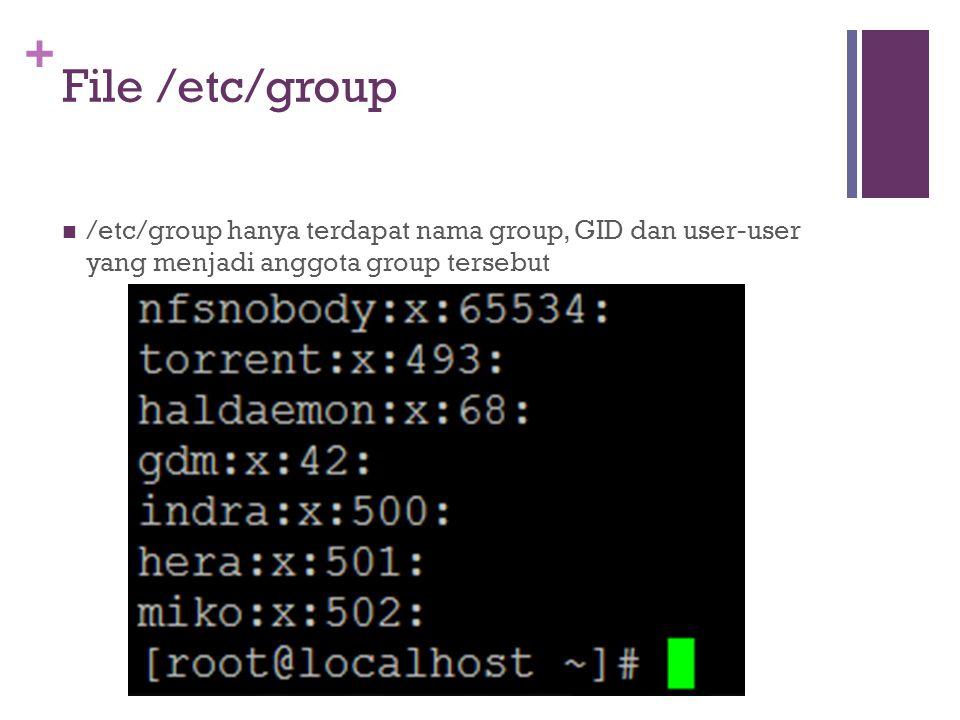 + File /etc/group /etc/group hanya terdapat nama group, GID dan user-user yang menjadi anggota group tersebut