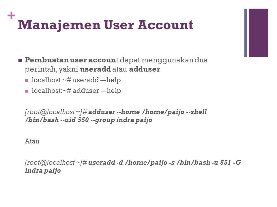 + Setelah user berhasil maka harus di atur ulang untuk passwordnya dengan perintah passwd option namauser Bantuan [root@localhost ~]#passwd --help [root@localhost ~]#passwd paijo Changing password for user paijo.