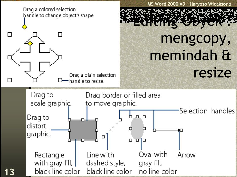 MS Word 2000 #3 – Haryoso Wicaksono 13 Editing Obyek : mengcopy, memindah & resize