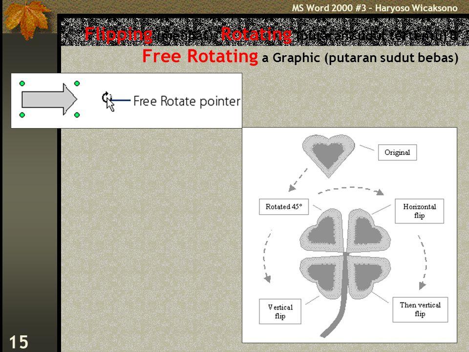 MS Word 2000 #3 – Haryoso Wicaksono 15 Flipping (melipat), Rotating (putaran sudut tertentu) & Free Rotating a Graphic (putaran sudut bebas)