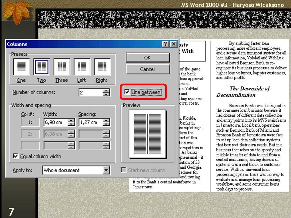 MS Word 2000 #3 – Haryoso Wicaksono 7 Garis antar Kolom
