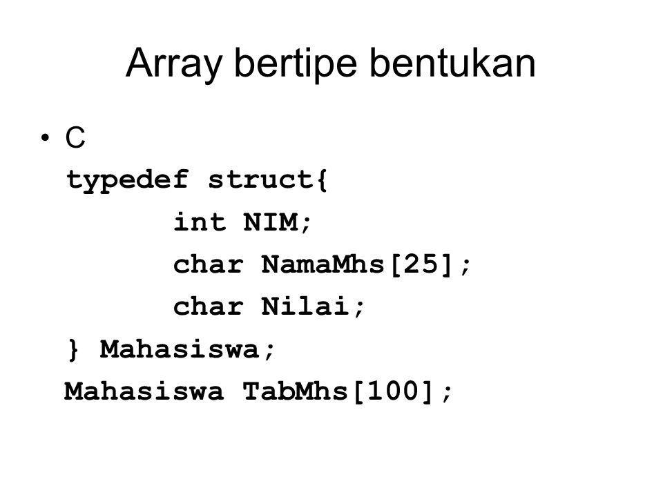 Array bertipe bentukan C typedef struct{ int NIM; char NamaMhs[25]; char Nilai; } Mahasiswa; Mahasiswa TabMhs[100];