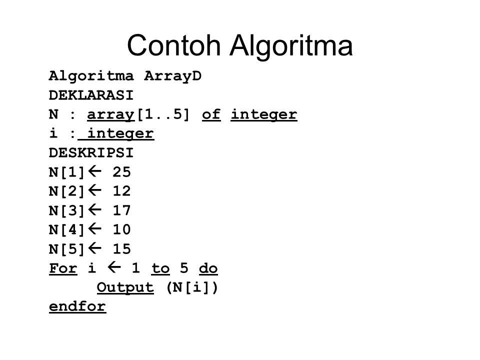 Contoh Algoritma Algoritma ArrayD DEKLARASI N : array[1..5] of integer i : integer DESKRIPSI N[1]  25 N[2]  12 N[3]  17 N[4]  10 N[5]  15 For i 