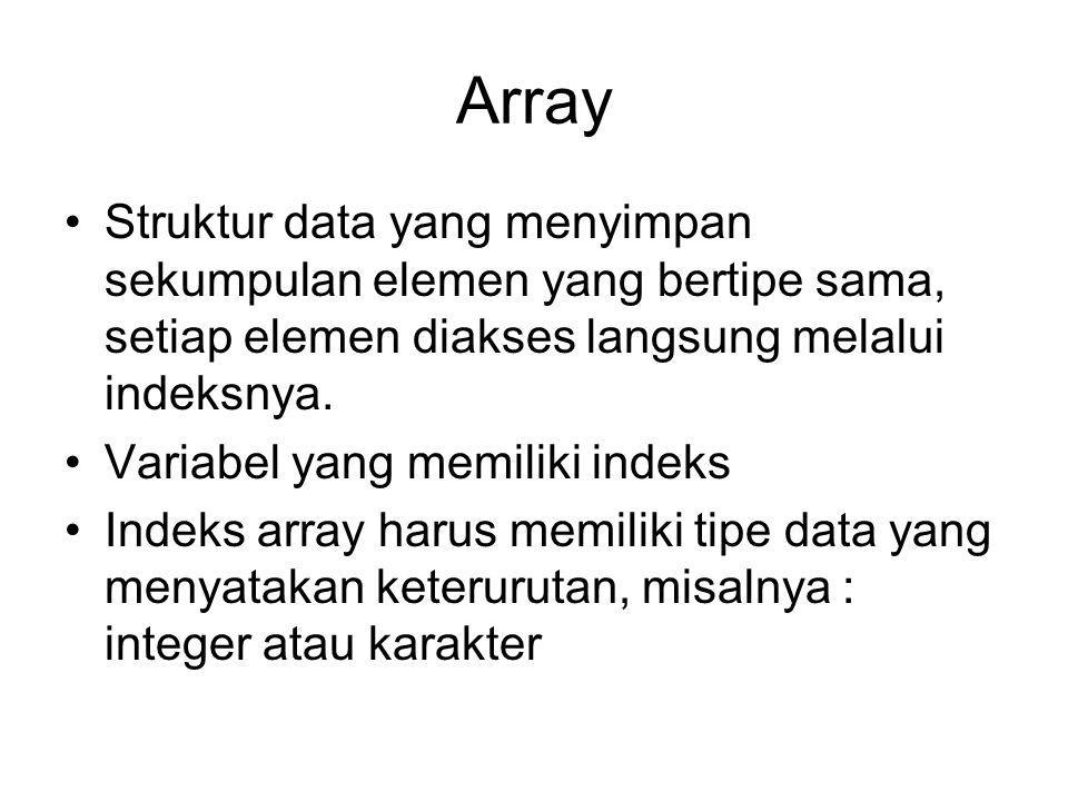 Array Struktur data yang menyimpan sekumpulan elemen yang bertipe sama, setiap elemen diakses langsung melalui indeksnya. Variabel yang memiliki indek