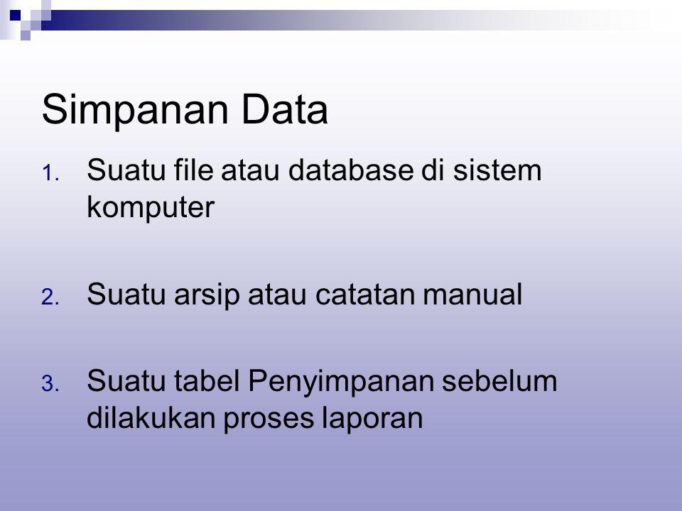 Simpanan Data 1. Suatu file atau database di sistem komputer 2. Suatu arsip atau catatan manual 3. Suatu tabel Penyimpanan sebelum dilakukan proses la