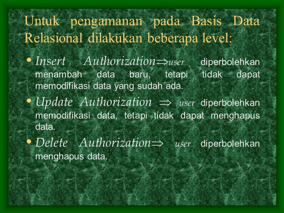 Untuk pengamanan pada Basis Data Relasional dilakukan beberapa level: Insert Authorization  user diperbolehkan menambah data baru, tetapi tidak dapat