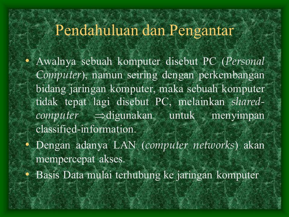 Pendahuluan dan Pengantar Awalnya sebuah komputer disebut PC ( Personal Computer ), namun seiring dengan perkembangan bidang jaringan komputer, maka s
