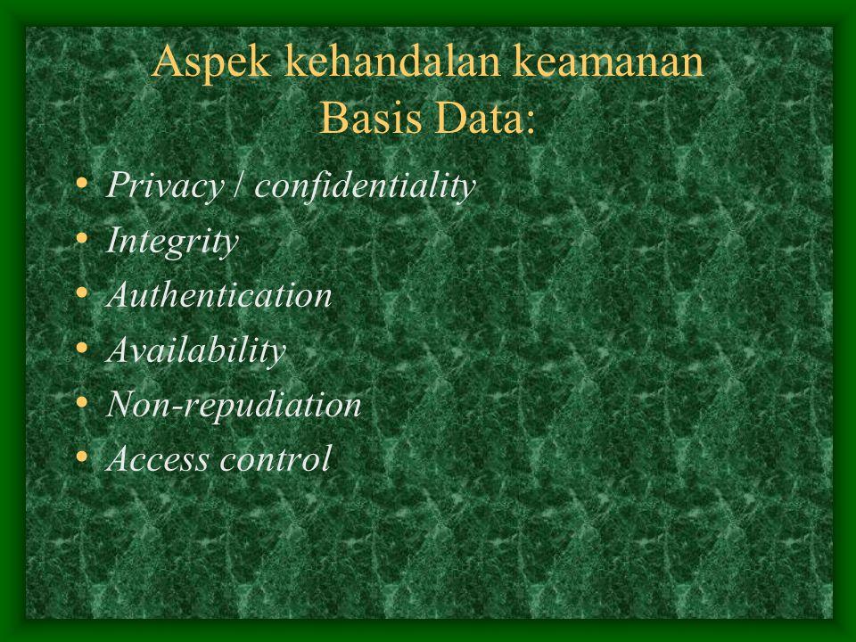 Perlunya keamanan menyeluruh pada Basis Data: Keamanan merupakan suatu proteksi terhadap pengrusakan data dan pemakaian data oleh user yang tidak memiliki otoritas.