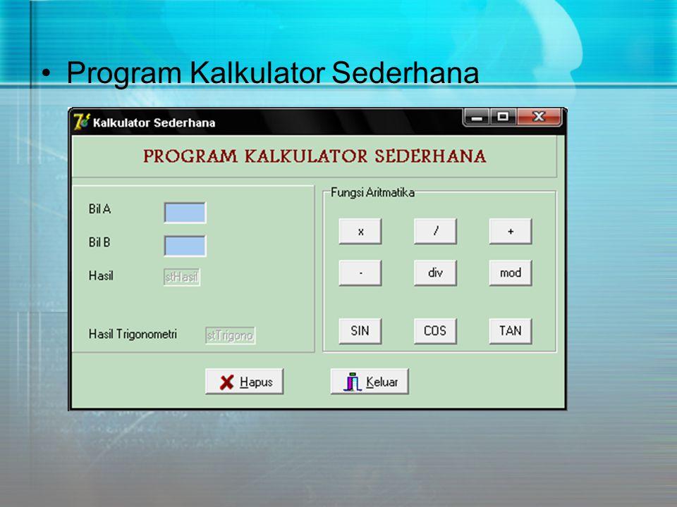 Program Kalkulator Sederhana