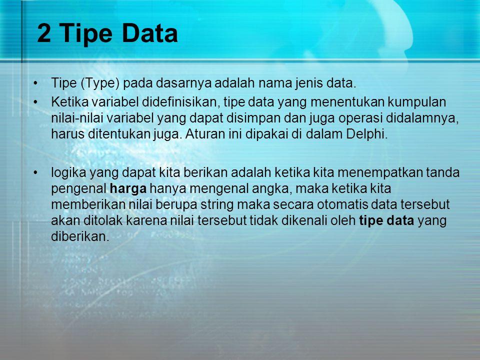2.1 Tipe Data Bilangan bulat Bilangan bulat pada Delphi mempunyai beberapa tipe, yang membedakan tipe-tipe ini adalah jangkauannya.