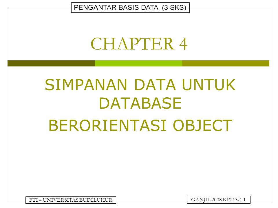FTI – UNIVERSITAS BUDI LUHUR PENGANTAR BASIS DATA (3 SKS) GANJIL 2008 KP213-1.2 SIMPANAN DATA UNTUK DATABASE BERORIENTASI OBJECT  Sistem penyimpanan untuk database berorientasi object berbeda dengan sistem penyimpanan database dengan relasi.