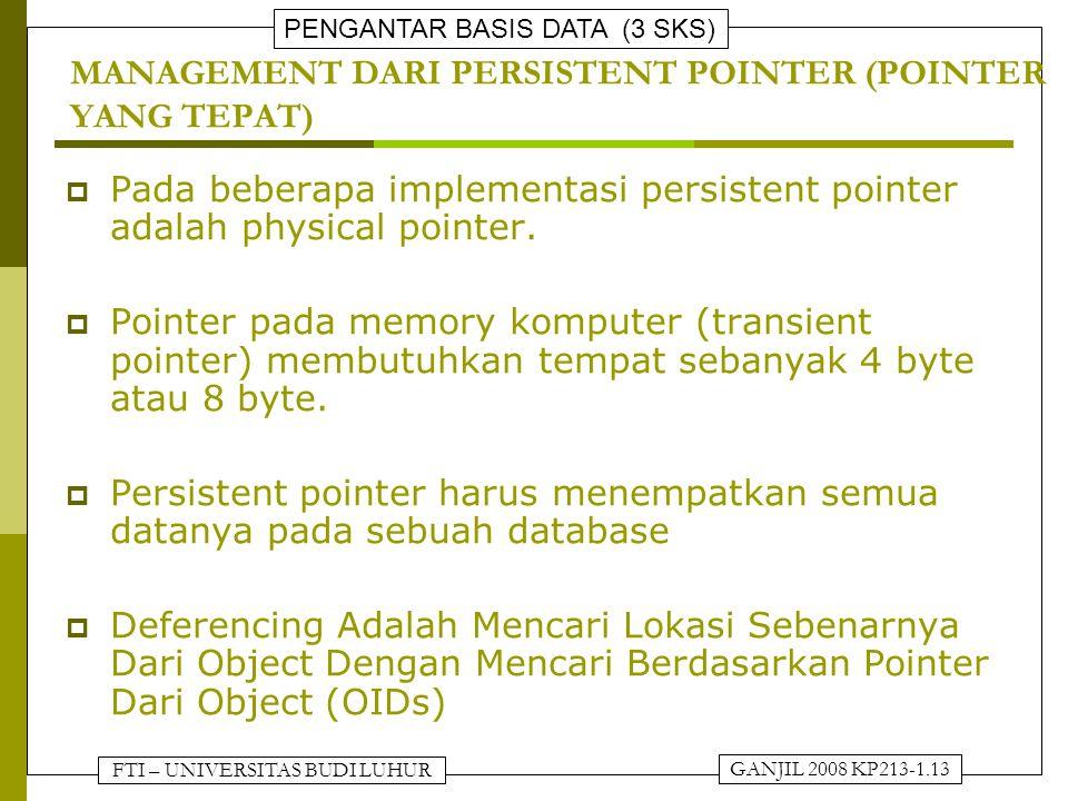 FTI – UNIVERSITAS BUDI LUHUR PENGANTAR BASIS DATA (3 SKS) GANJIL 2008 KP213-1.13 MANAGEMENT DARI PERSISTENT POINTER (POINTER YANG TEPAT)  Pada bebera