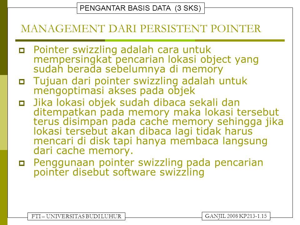 FTI – UNIVERSITAS BUDI LUHUR PENGANTAR BASIS DATA (3 SKS) GANJIL 2008 KP213-1.15 MANAGEMENT DARI PERSISTENT POINTER  Pointer swizzling adalah cara un