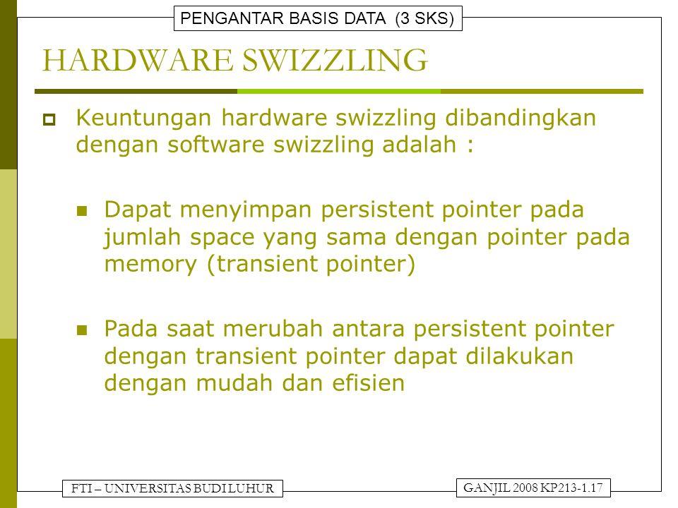 FTI – UNIVERSITAS BUDI LUHUR PENGANTAR BASIS DATA (3 SKS) GANJIL 2008 KP213-1.17 HARDWARE SWIZZLING  Keuntungan hardware swizzling dibandingkan denga