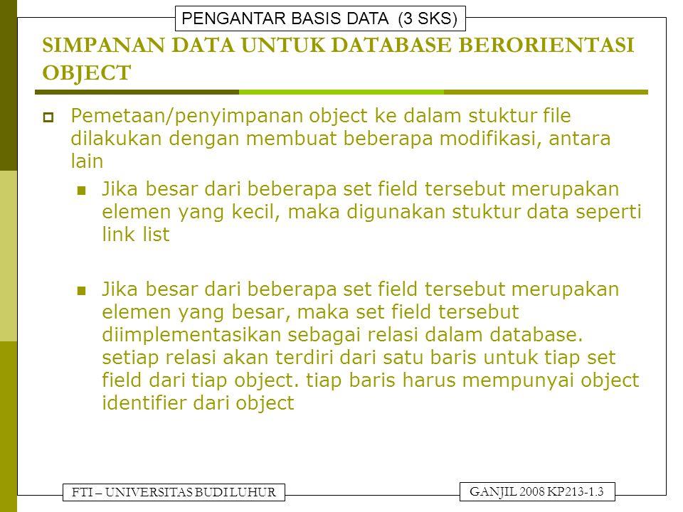 FTI – UNIVERSITAS BUDI LUHUR PENGANTAR BASIS DATA (3 SKS) GANJIL 2008 KP213-1.3 SIMPANAN DATA UNTUK DATABASE BERORIENTASI OBJECT  Pemetaan/penyimpana